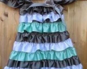 Satin Ruffled Gray, White & Teal Petti Dress for Baby Girls