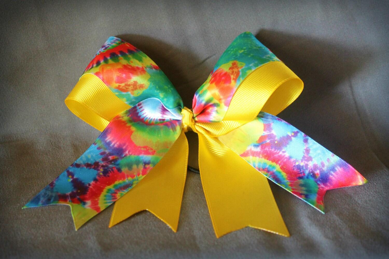 tie dye cheer bow satin ribbon 6 inches alligator clip