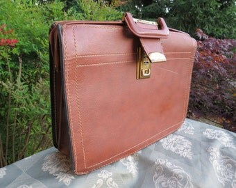 Heavy Leather Mahogany Briefcase / Valise with Brass Trim and Locks Vintage