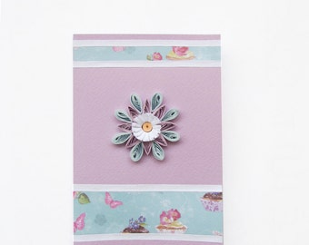 Lavender Flower Quilling Card, Quilled Blank Birthday Card, Congratulation Card, Greeting card, Invitation