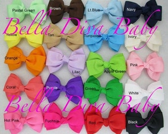 Boutique bow handmade -4inch boutique bow  WITH alligator hair clips, baby girl hair clips, lots of colors hair clip bow