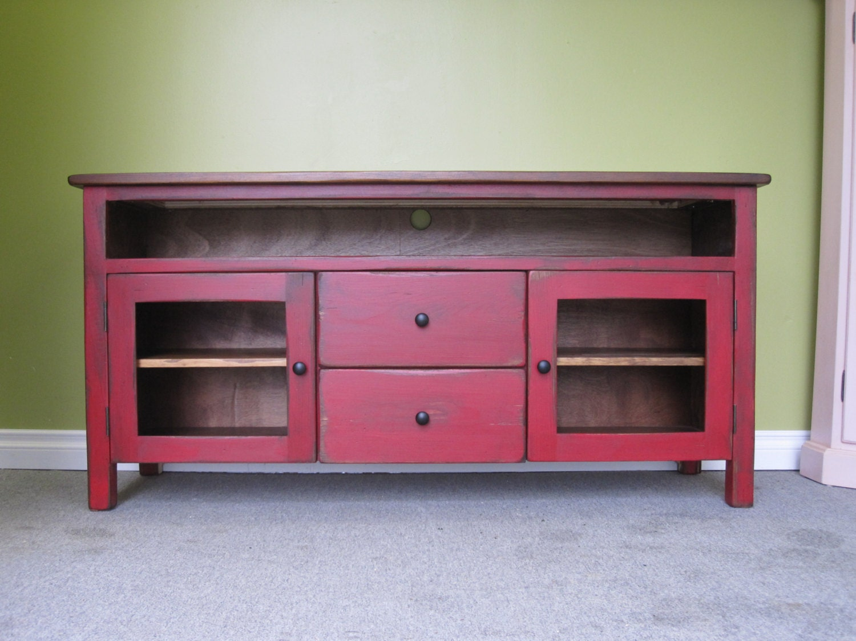 red tv stand wooden 60 long tv console cottage. Black Bedroom Furniture Sets. Home Design Ideas