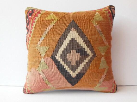 "20""Turkish pillow case pink orange decorative pillow oriental stripe throw pillow ethnic kilim pillow cover handmade cushion cover large old"