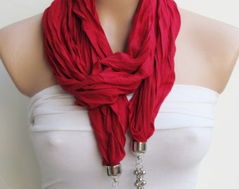 Red Jewelry Scarf - Headband - Necklace - Combed Cotton Scarf - Infinity Scarf - New Season - Long Scarf