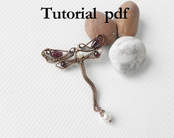 Wire wrap Tutorial, Art Nouveau style dragonfly pendant for intermediate