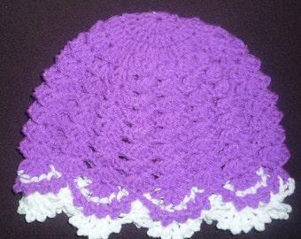 crochet baby frilly hat pattern