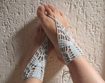 Crochet Slave Anklet, Hand Jewelry, Slave Bracelet, Sex Jewelry, Submissive Jewelry, Foot Beach Wear, Bridesmaid Sandals, Beach Feet Anklet