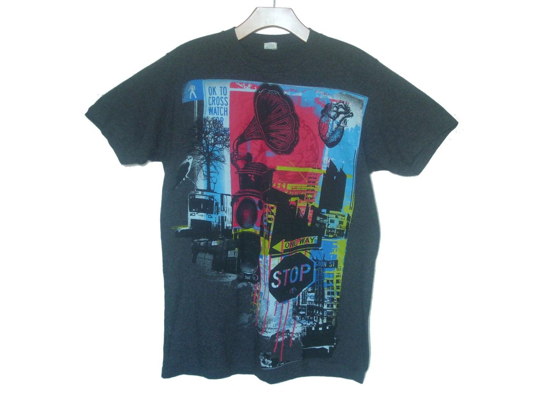 Vintage 90s t shirt urban streetwear cityscape men 39 s small for Urban streetwear t shirts