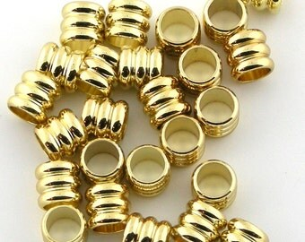 20+ pcs 6mm Gold Plated 3 Rings Tube Roundel Leather Beads Spacers 103055