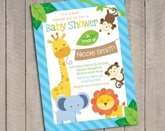 Blue Safari Baby Shower Invitation / Blue Jungle Safari Baby Shower Invitation / Sweet Safari Baby Shower invitation / Sweet Safari