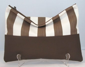 Clutch / Oversize Clutch Bag /  Fold over Clutch Bag / Clutch Purse / Evening Bag /  Brown  Faux Leather and Brown Stripe