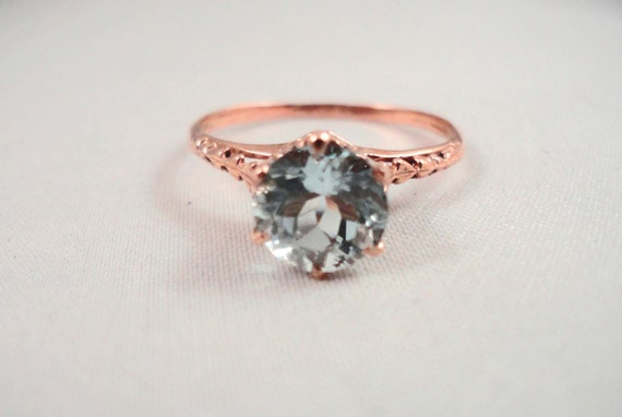 10k ROSE GOLD AQUAMARINE Ring 1ct 100% Natural Size 6.5 Engagement Bridal