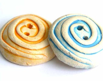 1 piece LARGE Handmade Ceramic Round Buttons in Blue or Sunny Yellow