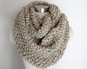 Oversized Oatmeal Cream Cowl, Chunky Knit Infinity Scarf, Neck Warmer, Off White Womens Accessories