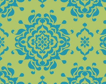 SALE - Blue Green Damask Fabric - Splendor by Lila Tueller Designs from Riley Blake 100% cotton, c3912 - By the 1/2 Yard