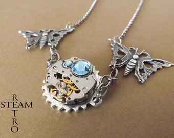 10% off sale17  Clockwork Butterfly Steampunk Necklace - Steampunk Jewellery by Steamretro -personalized jewelry