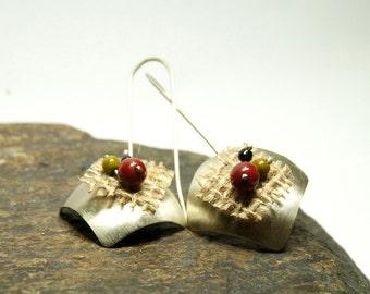 SQUARE EARRINGS , herb fabric earrings  , multicolor hollow earrings , red earrings , textured earrings , geometrical earrings ,