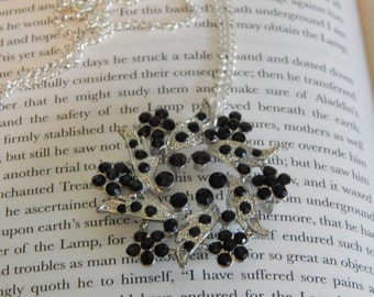 Upcycled Black Rhinestone Silver Flower Brooch Necklace