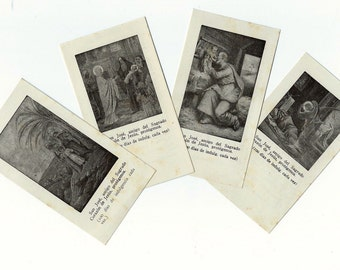 4 Vintage Religious Saints Card - HOLY CARDS with a PRAYER- Set 61