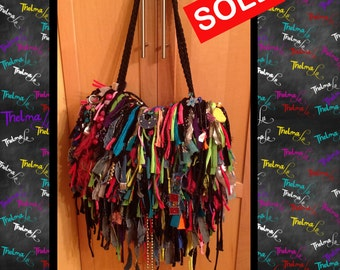 NEON Fringe bag,Fabric Bag,Upcycle,Bling,Beads,Ultra Fringe,Custom Made,One Of A Kind, Hippie,BoHo,Funky,Purse,Tote