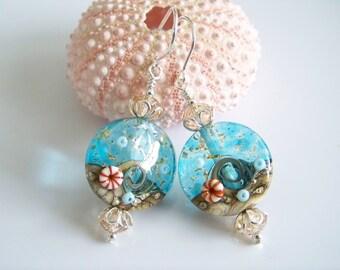 Aqua Blue Artisan Lampwork Beach Theme Beaded Earrings - Item E1745