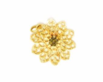 Delicate Gold Tone Filigree Pendant with Smoky Gray Rhinestone