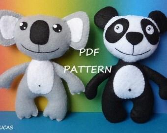 PDF sewing pattern to make a felt koala bear and a panda bear.