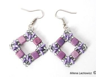 Beaded square earrings