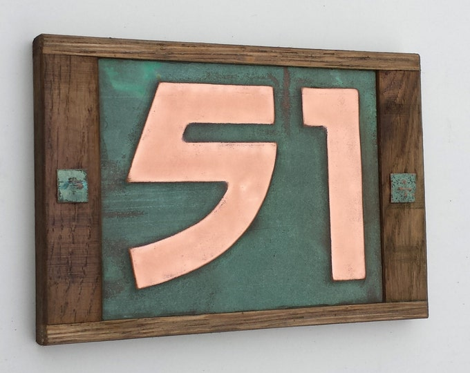 "Arts and Crafts Oak Wood framed 3""/75mm or 4""/100mm Copper number, 2 x nos. in Bala font, polished and laquered g"