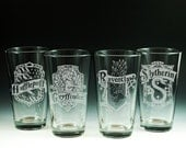 Harry Potter, Glassware, Etched Glass, Gryffindor, Slytherin, Hufflepuff, Ravenclaw, Pint Glasses, Glassware, Beer Pint, Drinking Glasses