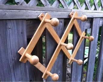 Vintage Wooden Hanger Hat Coat Rack Kitchen Hooks  Accordion Peg Rack Wooden Coat Hanger Wall Hooks / Wooden Towel Hanger