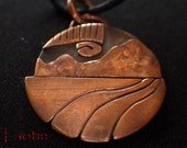 Northern Lights Copper Pendant Metal Necklace