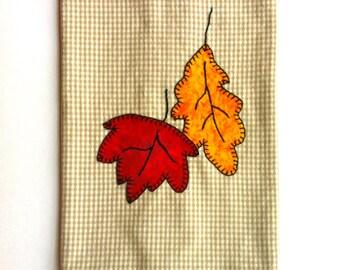 Fall Applique, Fall Tea Towel, Fall Kitchen Towels, Thanksgiving Tea Towel, Fall Leaves Applique Kitchen Towel,Fall Applique Tea Towel