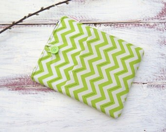 iPad Sleeve iPad Case Sleeve iPad 2, 3 & 4 Tablet Green Chevron with Button