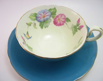 Aynsley tea cup and saucer, Aynsley Turquoise and gold tea cup set, Pink and blue flowers