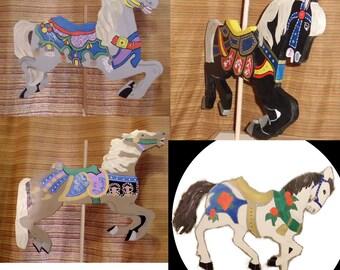 Wood Carousel Horse Custom Colors, You Choose, 20 inches