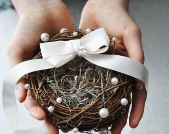 Ring bearer pillow Rustic ring box bird nest ring bearer Wedding ring box Rustic wedding ring bearer moss nest Woodland ring holder OBERON