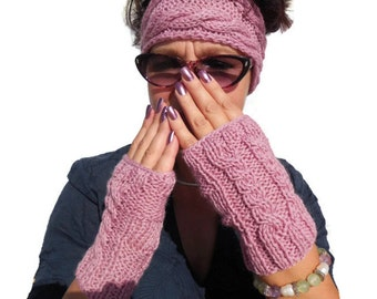 Raspberry 2 twist Wool Hand Knitted Gloves, Winter Warm Cable Cove Accessories