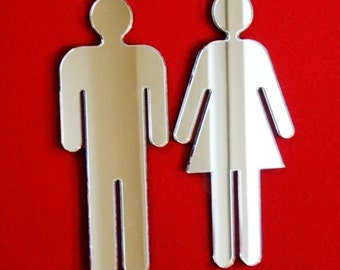 Male & Female Toilet Door Signs - Silver Mirror available in several sizes