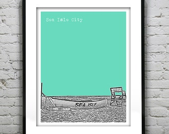 Sea Isle City New Jersey Shore Poster Print Art NJ Skyline Jersey Shore