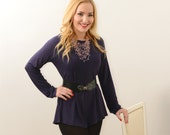 Dark purple elegant tunic long sleeves blouse everyday office wear F/13