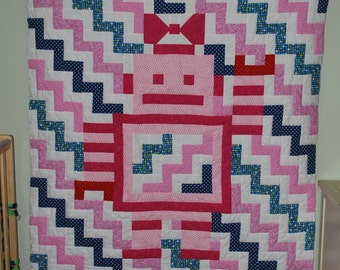 Girl Robot Chevron Baby Quilt