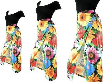 floralwrap skirtM / maxi long photoprint photo print skirt high waist 90s1990s clothing medium