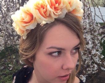 Custom Bohemian Chic Peach Flowered Spring/Summer Headband