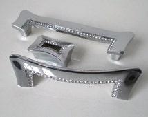 "1.25"" 3.75"" 5"" Crystal Dresser Drawer Pulls Handles Knobs Cabinet Knob Rhinestone Glass Kitchen Door Handle Pull Silver Chrome 32 96 128 mm"