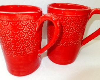 X-Large Red Lace Ceramic Coffee Mug, Handmade Stoneware Pottery