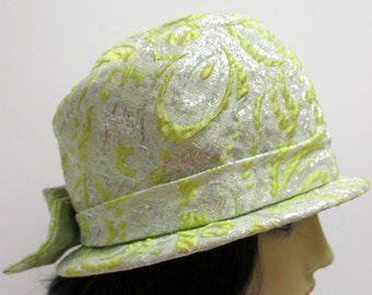 Vintage 1960s Hat,  MOD Hat,  Silver & Chartreuse Brocade hat,  mod hat, Cloche hat, Mad Men Hat