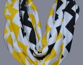 Yellow & Black Steelers Chevron Infinity Scarf - Jersey Knit Super Soft