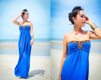 Summer cobalt Royal blue strapless Beach evening long maxi dress S M L XL
