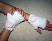 Fingerless Gloves / Women / Teens / White with Fuzzy Pink Flower and Trim or Your Choice